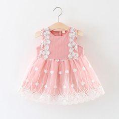 Baby girl princess dress summer wedding dress for girl kids pink sleeveless bow flower embroidery mesh dress Wedding Dresses For Girls, Cute Summer Dresses, Girls Dresses, New Baby Dress, Dress With Bow, Dress Girl, Julia, Tulle Dress, Dress Lace