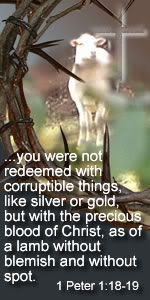 1 Peter 1:18-19 - Redeemed ............Free Scripture Tags at http://richgift.blogspot.com (For Easter)