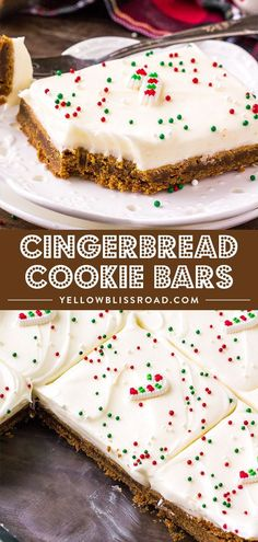 Spiced Gingerbread Cookie Bars are soft and chewy and just melt in your mouth. Top with a fluffy cream cheese icing for a delicious Christmas dessert. via desserts Spiced Gingerbread Cookie Bars Köstliche Desserts, Holiday Desserts, Holiday Baking, Holiday Treats, Holiday Recipes, Christmas Dessert Recipes, Holiday Bars, Best Christmas Recipes, Thanksgiving Sides