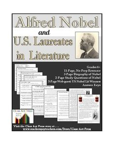 Students learn of the fascinating life of Alfred Nobel and the famous American Nobel Prize winners in Literature. Social Studies Resources, Learning Resources, Student Learning, Teacher Resources, Teaching Ideas, History Classroom, Classroom Tools, Middle School, High School
