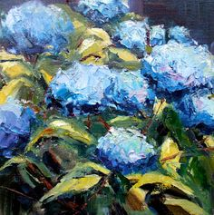 """impressionistic painting of blue hydrangeas, 12"""" x 12"""" by Gina Brown Art"""