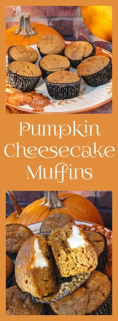 Pumpkin Cheesecake Muffins are lightly spiced with a cream cheese filling. » Recipes, Food and Cooking