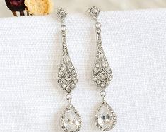 Bridal Earrings Wedding Earrings Swarovski Pearl Drop Dangle
