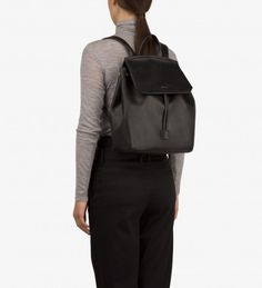 Backpack with adjustable straps. Drawstring closure, with hidden tab under flap to secure drawstrings. Hidden back pocket with zipper closure. recycled nylon lining. Satchel, Crossbody Bag, Vegan Handbags, Vegan Leather, Leather Backpack, Backpacks, Zipper, Purses, My Style