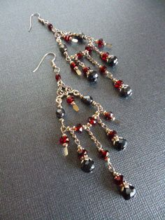 Red and Grey/black Elaborate Chandelier Earrings in Silver