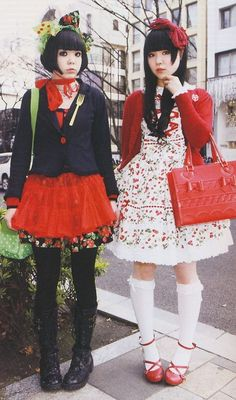 Japanese street fashion. Loving the red, white and black color scheme. The left is more casual and the right is formal. I love both.