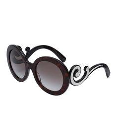 PRADA Havana & White Swirl Round Sunglasses