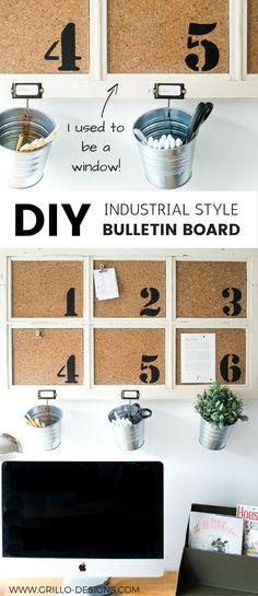 how to make a diy bulletin board from a repurposed window / grillo designs www.grillo-designs.com