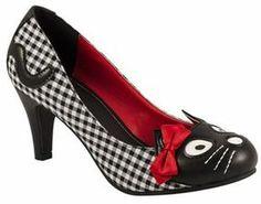 Black/white gingham kitty high heels shoes on shopstyle.com.au
