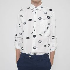 Wood Wood Marvin Shirt, Lips, Cotton!