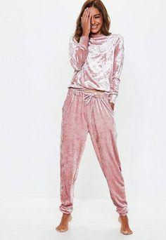 21b35a80af Missguided Pink Velvet Loungewear Tracksuit Velvet Tracksuit