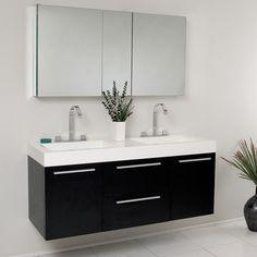 Fresca Opulento Black Modern Double Sink Bathroom Vanity w/ Medicine Cabinet