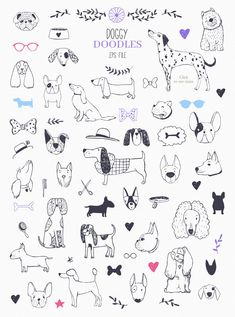 Who Let The Dogs Out? by Bibela on Creative Market - crtanje - Who Let The Dogs Out? by Bibela on Creative Market - Tier Doodles, Cute Doodles, Easy People Drawings, Easy Drawings, Doodle Drawings, Animal Drawings, Pencil Drawings, Dog Pitbull, Drawings With Meaning
