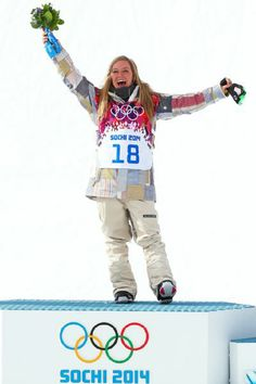 Jamie Anderson, Olympic Gold medalist, slope style snowboarding, Sochi 2014.