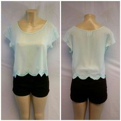 "Sheer Pastel Mint Green Scalloped Hem Top LA HEARTS,   Sheer, Pastel Mint Green, Scalloped Hem Crop Top, size Large, embroidered hem (see pictures), scoop neckline, side bust darts, very sweet and feminine, light weight wispy, machine washable, 100% polyester exclusive of decorations, 19"" length shoulder to hem, 20"" bust laying flat, 3 1/2"" sleeve shoulder to hem of sleeve, 17"" shoulder seam to shoulder seam. LA Hearts Tops Crop Tops"