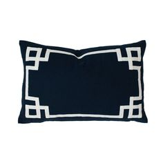 Navy Deco Lumbar Pillow - We love this preppy, navy greek key pillow that is perfect for the nursery or kids room. #PNshop