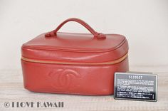 CHANEL Red Caviarskin Vanity Cosmetic Bag A01997