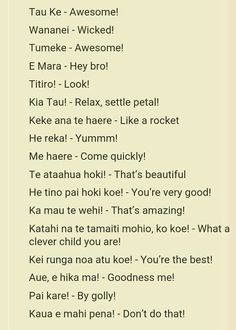 Maori Phrases for Teaching