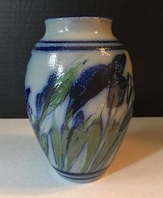 Salt Glazed Stoneware Art Pottery Vase Signed Blue Green Iris Flowers    eBay