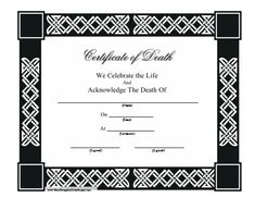 Spanish death certificate templates translation marriage template this certificate of death is bordered in a black and white celtic design and includes the yadclub Gallery