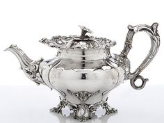 Antique silver English teapot