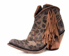 Leopard Fringed Leather Bootie