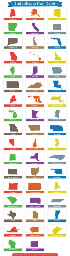 Free printable state shapes flash cards. Download them in PDF format at http://flashcardfox.com/download/state-shapes-flash-cards/