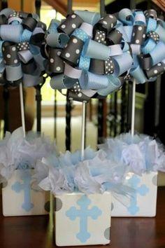 Centro de mesa batizado fitas azul | Macetes de Mãe