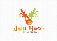 Logo for sale by Melanie D: Fun, bold and energetic moose character logo design. The moose mascot is designed with splashy and juicy antlers as well as a bright orange slice to represent a happy smile.