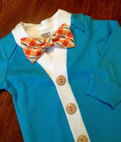 Baby Cardigan One Piece Bow Tie Set, Easter Outfit, Blue Infant Cardigan with Orange Clip on Bow Tie, Cardigan Bodysuit