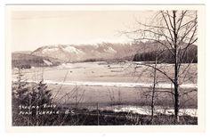 BC – TERRACE, Skeena River, Rail Line and Bridge c.1954 RPPC Vintage Postcards, British Columbia, North West, Terrace, Bridge, Canada, Clouds, River, World