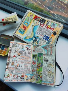 Interview: Avid Adventurer Reveals His Brilliant Travel Journal Ideas Album Journal, Scrapbook Journal, Journal Layout, Travel Scrapbook, Sketch Journal, Voyage Sketchbook, Travel Sketchbook, Bullet Journal Travel, Bullet Journal Inspiration