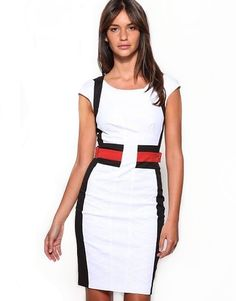 $171.51 White Karen Millen Round Neck Dress