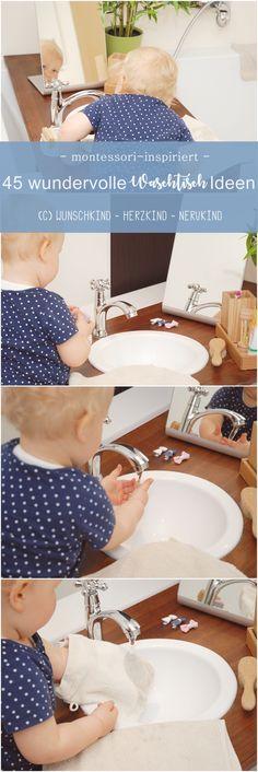 Ich zeige euch 45 wundervolle Waschtisch-Ideen, die euren Kindern helfen sich selbsttätig zu waschen und die Zähne zu putzen. So fühlen sich Kinder gesehen, wertgeschätzt und es macht ihnen sehr viel Spaß! Crop Tops, Kids, Baby, Women, Fashion, Pictures, Montessori Practical Life, Play Based Learning, Brush Teeth