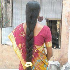 Long Hair Ponytail, Bun Hairstyles For Long Hair, Braids For Long Hair, Indian Hairstyles, Braided Hairstyles, Braid Hair, Blonde Hair Black Girls, Long Black Hair, Long Silky Hair