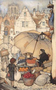Anton Pieck - Dutch painter and graphic artist. 19 Avril, Anton Pieck, Edmund Dulac, Dutch Painters, Wow Art, Dutch Artists, Children's Book Illustration, Book Illustrations, Graphic