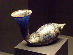Blue Swan-shaped Perfume Flask Roman 1-200 CE glass