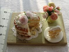 Roses and cake on a board by GosiaMinis on Etsy