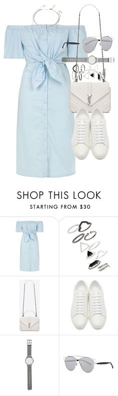 """Outfit for summer with a denim dress"" by ferned ❤ liked on Polyvore featuring Topshop, Yves Saint Laurent, Witchery, Christian Dior and Forever 21"