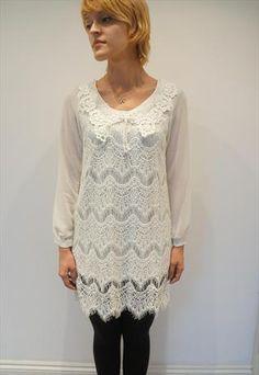 White lace dress with fringe