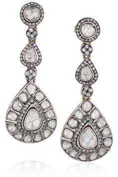 Artisan 14-karat white gold and diamond earrings. Very nice.