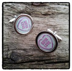 Goth love cufflinks in the design of the British cult loveheart candy. Ideal Valentines gift.