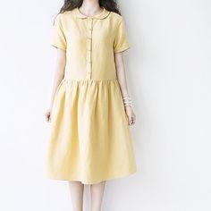Summer yellow women dress women clothing leisure by ideacloth, $56.00