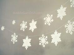 One Snowflakes garland holiday bunting glittered par BubbleGumDish, $15.00