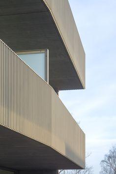 Image 4 of 20 from gallery of Homestead Diemen / Marcel Lok Architect. Photograph by Luuk Kramer Staircase Handrail, Railings, Stairs, Balcony Railing Design, Building Exterior, Modern Buildings, Marcel, Homesteading, Villa
