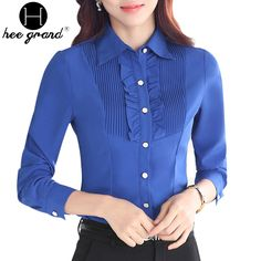 Women Blouse 2016 Spring New Arrival Casual Turn Down Collar Ruffles Long Sleeve OL Shirt Plus on http://ali.pub/yrfib