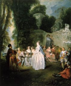 The Venetian Pleasures Translated title: The Venetian Festival., by artist Jean-Antoine Watteau. hand-painted museum quality oil painting reproduction on canvas. French Paintings, European Paintings, Rococo Painting, Painting Art, Jean Antoine Watteau, Renaissance, French Rococo, Rococo Style, National Gallery