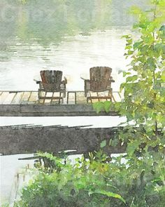Lake Afternoon:  A Rustic Watercolor Fine Art by ChezLorraines