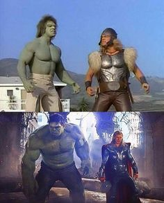 Funny Pictures – Hulk and Thor – 34 years later