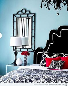 Beautiful blue & black bedroom. Love this. Might actually be the colors I want